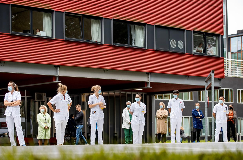 Medewerkers van het Amsterdam UMC protesteerden begin september. Beeld Hollandse Hoogte /  ANP