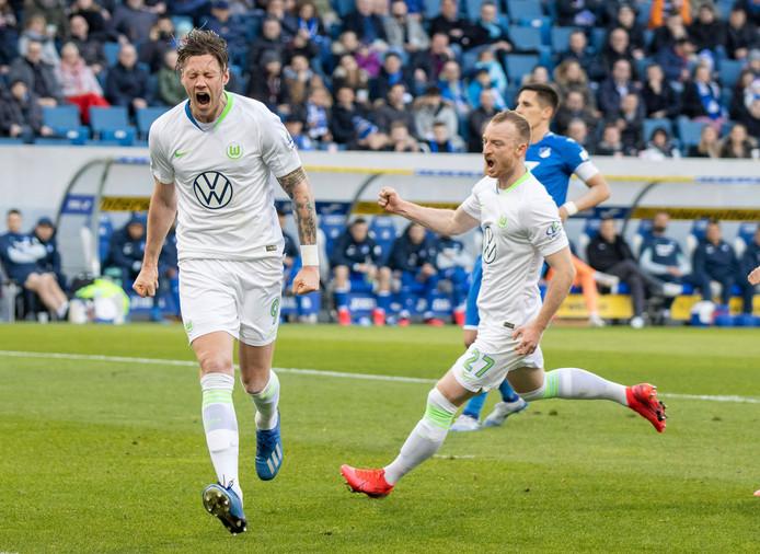 Wout Weghorst maakte zaterdag een hattrick namens VfL Wolfsburg tegen Hoffenheim, zijn derde in de Bundesliga.