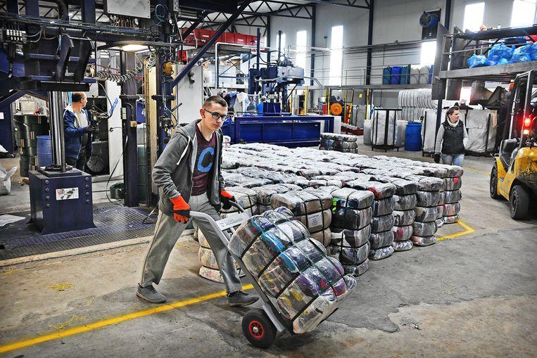 Bij textielsorteerbedrijf Wieland in Wormerveer werken veel Polen.  Beeld null
