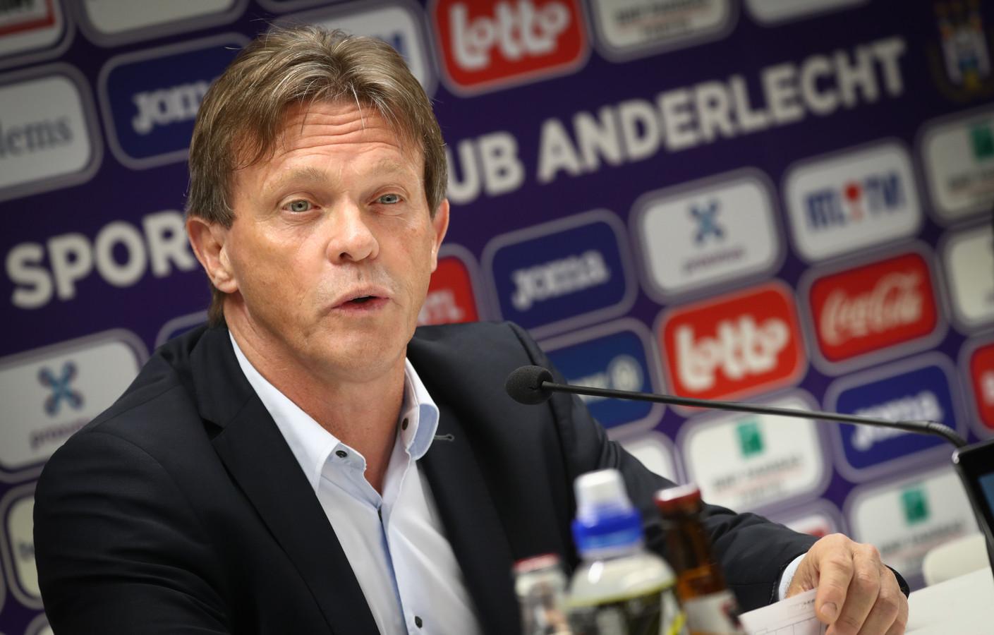 Franky Vercauteren (62) bij zijn presentatie als coach van Anderlecht vandaag.