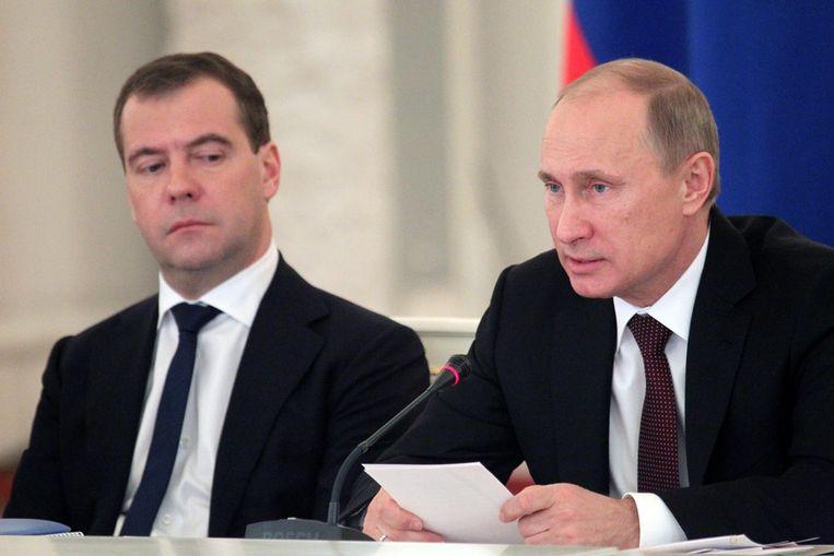 De Russische premier Dmitri Medvedev en president Vladimir Poetin.