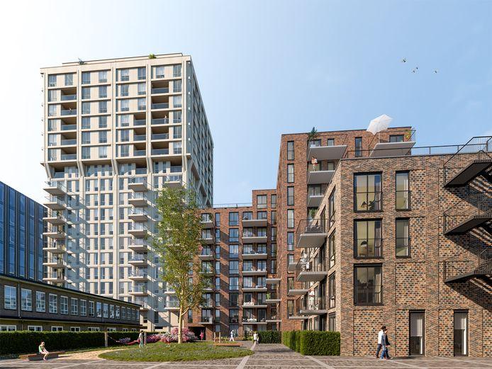De achterkant van de woontorens Frits en Frederik (rechts) in het plan West-S op Strijp-S in Eindhoven. Links is nog het stuk NatLab te zien dat in gebruik is bij 'buurman' school SintLucas.