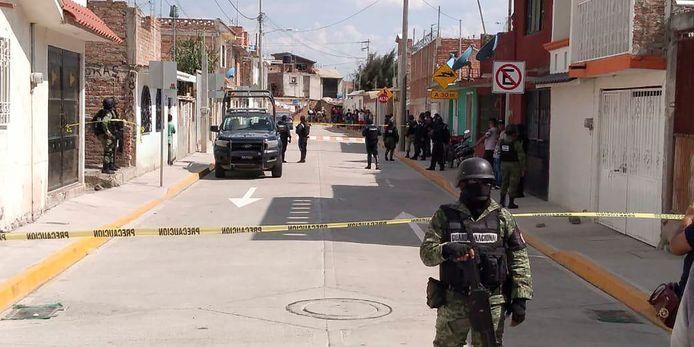 De Nationala Garde in het gebied in Irapuato waar enkele weken geleden ook al een aanslag werd gepleegd.