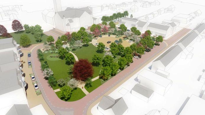 Het ontwerp van het nieuwe Willem-Alexanderplein in Teteringen, waarvoor 1,1 miljoen euro beschikbaar is gesteld door de Bredase gemeenteraad.