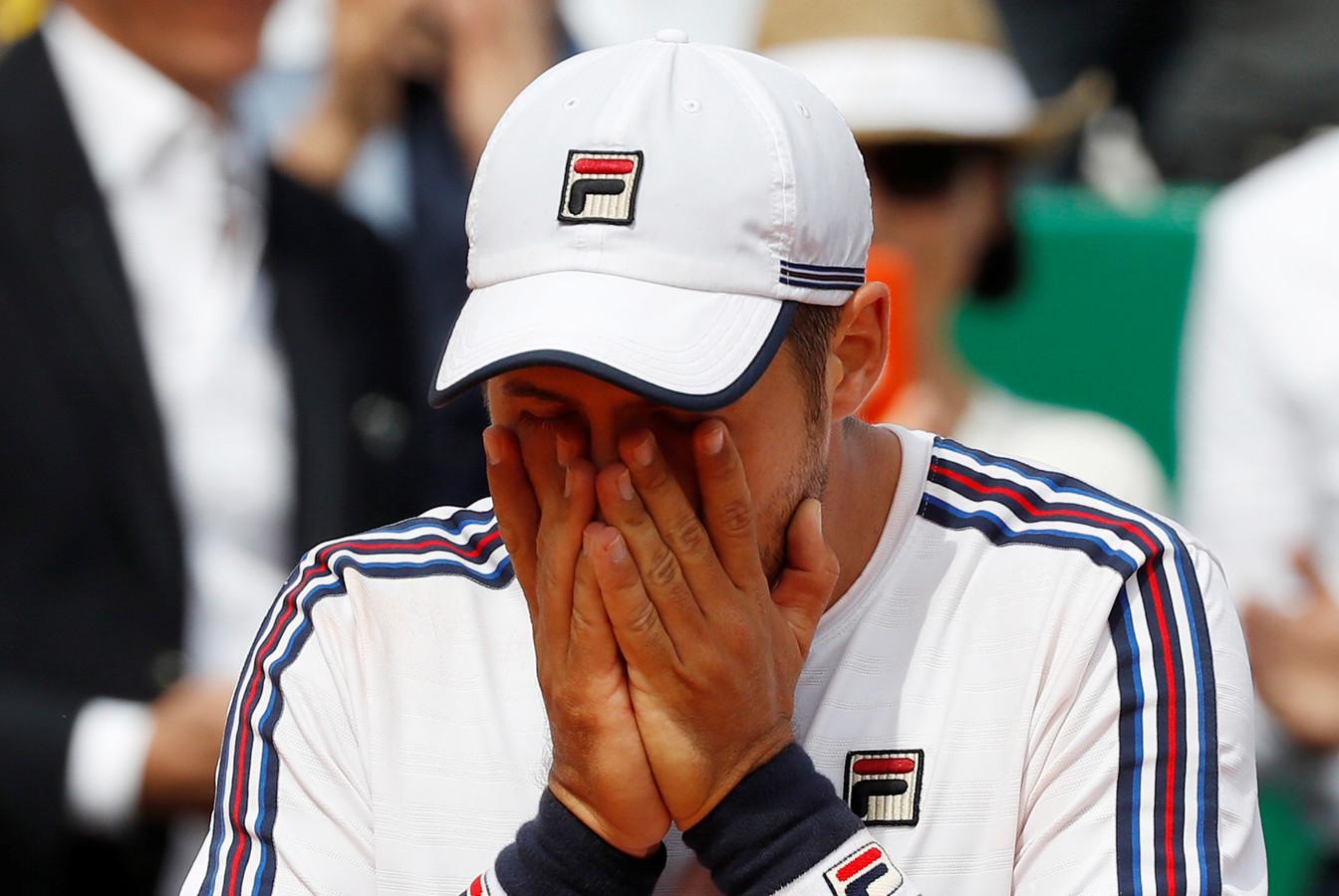 Dusan Lajovic kan nauwelijks bevatten dat hij in de finale staat in Monte Carlo.