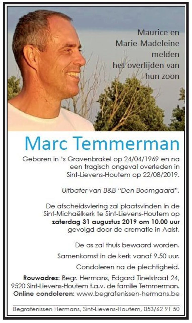 De afscheidsplechtigheid van Marc Temmerman vindt plaats op zaterdag 31 augustus.