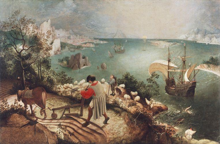 De val van Icarus van Pieter Bruegel de Oude. Beeld De Agostini via Getty Images