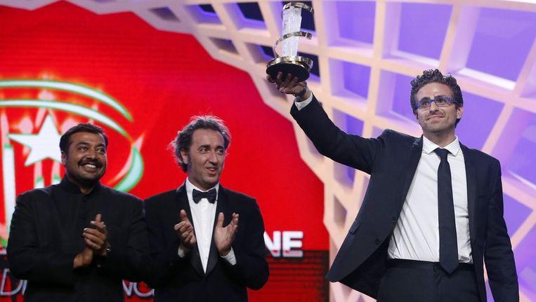 Midden: Paolo Sorrentino tijdens het filmfestival van Marrakech. Rechts regisseur Andrea Pallaoro. Beeld epa