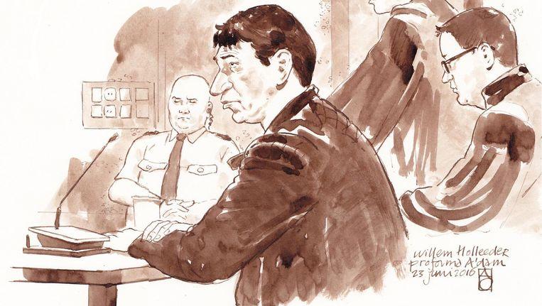 Willem Holleeder op een rechtbanktekening van juni vorig jaar Beeld ANP