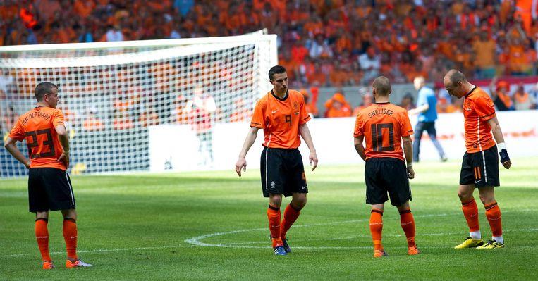 De 'grote vier' in 2010. Vlnr: Rafael van der Vaart, Robin van Persie, Wesley Sneijder en Arjen Robben. Beeld anp