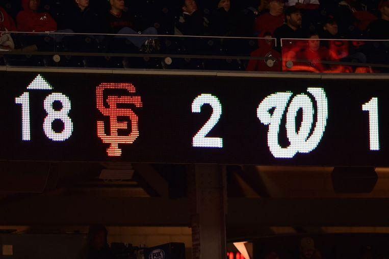Het scorebord in Washington tijdens de achttiende inning. Beeld afp
