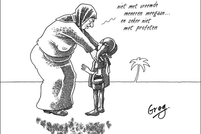 Een cartoon van Gregorius Nekschot, overigens niet eentje waar het OM zich over heeft gebogen (screenshot gregoriusnekschot.nl ) Beeld