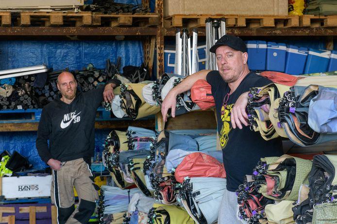 Festipi, bedrijf dat tenten opzet op (pop)festivals en nu geen verdiensten meer heeft. (L-R) Tonnie Hulskotte en Serge de Vries.