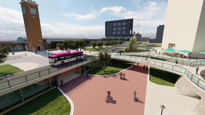 Met een verdiept fietspad moet het veiliger worden op het Stationsplein.