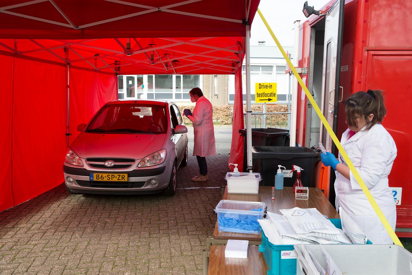 Voorbeeld van een vergelijkbare corona-teststraat in Zelhem, Gelderland.
