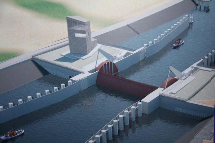 Zo zal de stormvloedkering in Nieuwpoort eruitzien.