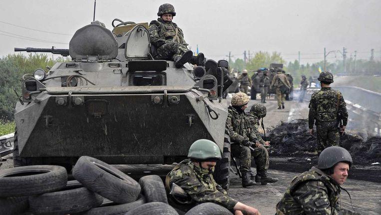 Oekraïense militairen nabij Slovjansk