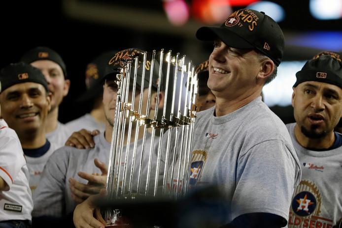 Houston Astros-coach AJ Hinch na het winnen van de World Series in 2017.