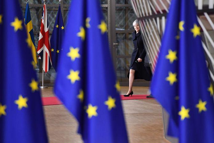 De Britse premier Theresa May in Brussel. Een meerderheid van haar Britten wijst op dit moment de brexit af.