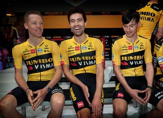 Steven Kruijswijk, Tom Dumoulin en Primoz Roglic gaan als de drie kopmannen van Jumbo-Visma naar de Tour de France.