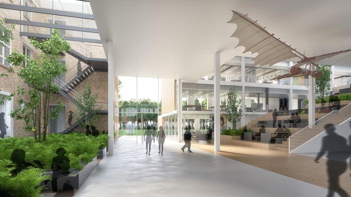 Het nieuwe, tweede, hart van het Van Maerlantlyceum in Eindhoven met de nieuwe hoofdingang en een 'tribunetrap' naar de nieuwbouw. Ontwerp: architectenbureau cepezed