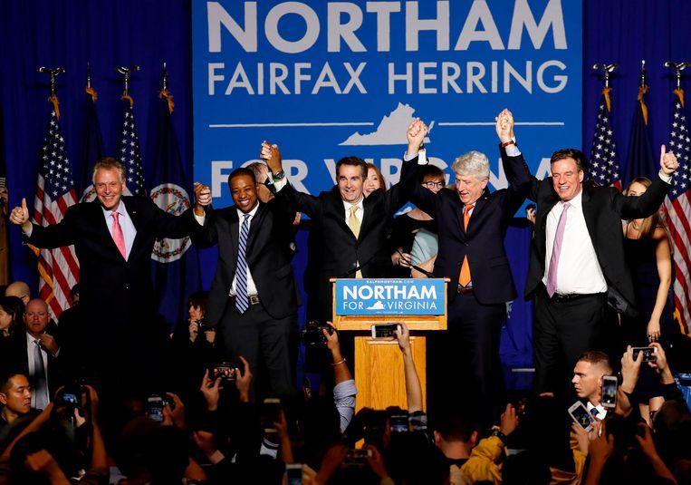 Ralph Northam viert zijn overwinning in Virginia. Beeld REUTERS