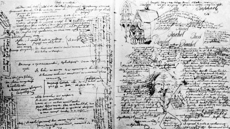 krabbels van Dostojevski Beeld -