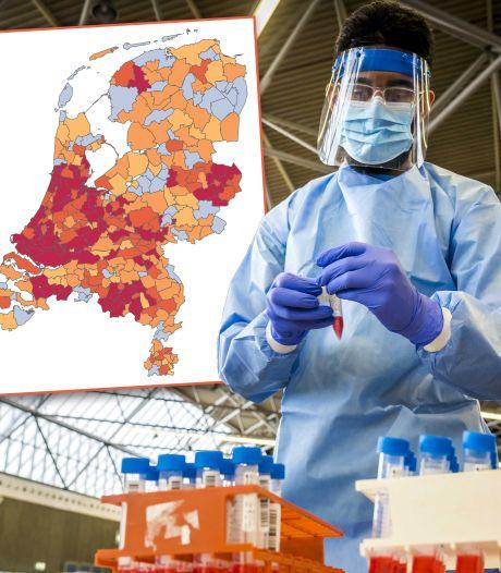 Gemeenten kleuren van donkerrood naar oranje, alleen aantal nieuwe besmettingen in IJsselland neemt toe