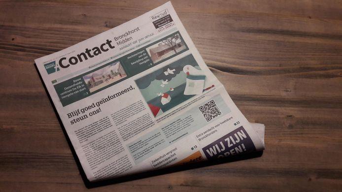 Op de voorpagina's van alle twaalf titels van Achterhoek Nieuws, zoals Contact, wordt een beroep op de lezers gedaan om de uitgever de coronacrisis door te helpen.