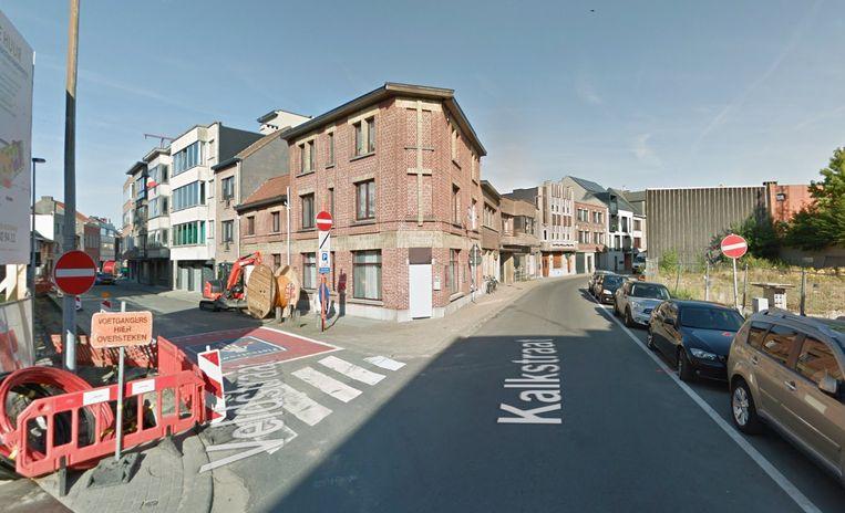 De hoek van de Veldstraat met de Kalkstraat.