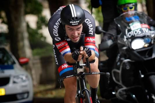 Tom Dumoulin op weg naar de tijdritzege in Burgos in de Vuelta van 2015.