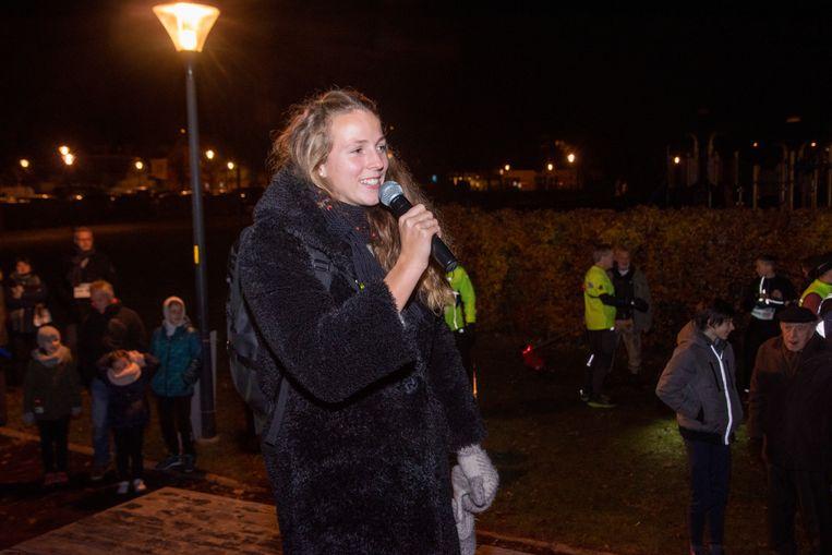 Hanne Maudens gaf de start van de City Night Run in Wetteren.