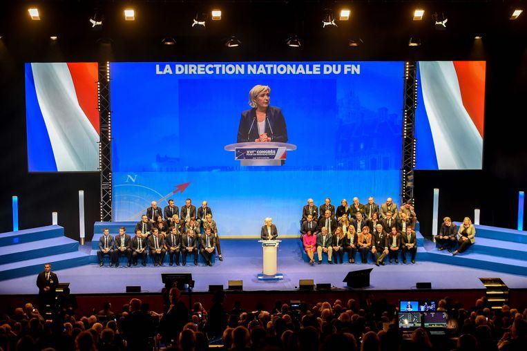 Een congres van het Front National op 11 maart. Marine Le Pen kondigde toen de naamsverandering van de partij aan.