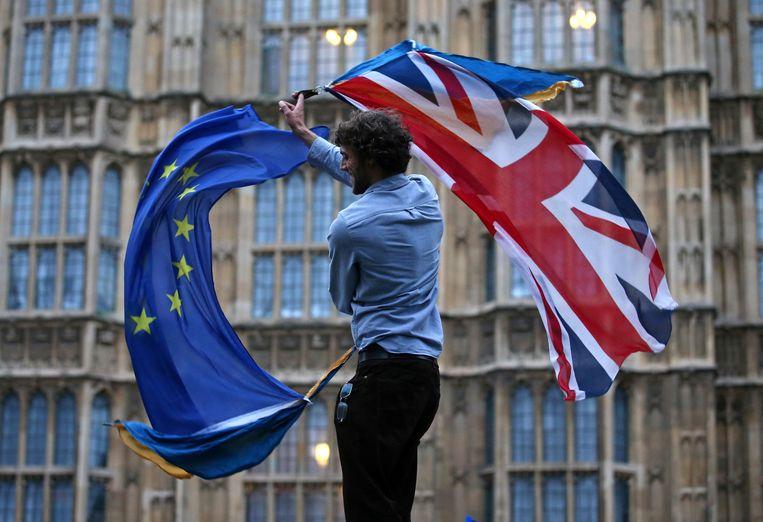 Een man zwaait met een Britse en een Europese vlag bij de Londense parlementsgebouwen.