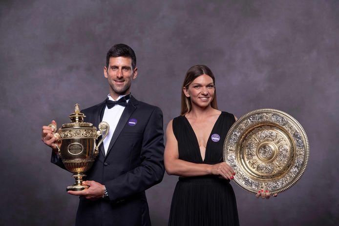 De winnaars van het toernooi van vorig jaar: Novak Djokovic en Simona Halep.