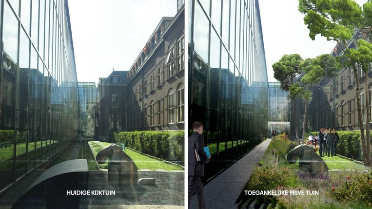 Artist's impressions van architectenbureau OMA. Dat bureau heeft inmiddels het veld moeten ruimen. Beeld OMA