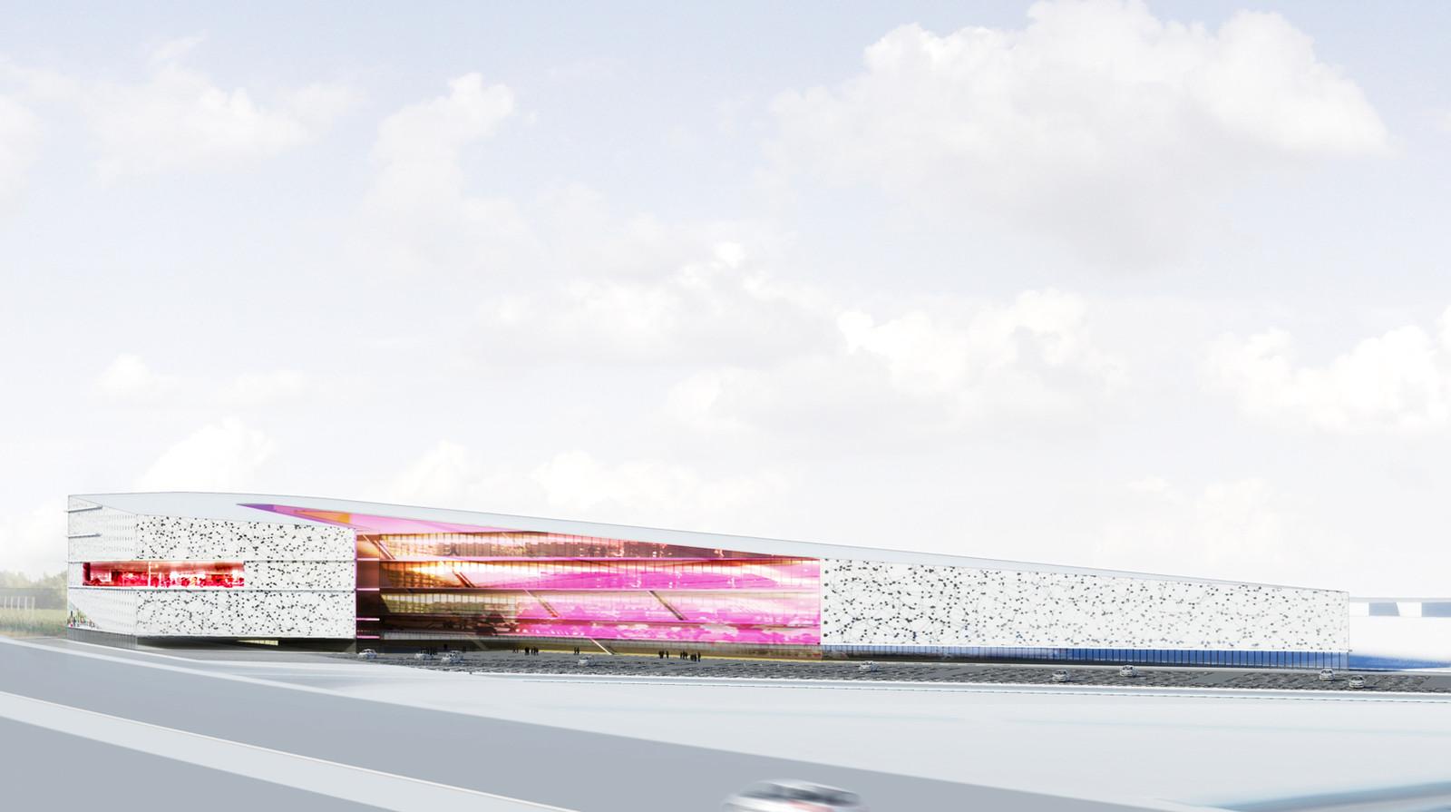 Een impressie van het Leisuredome Zaltbommel. Op de voorgrond de A2. illustratie Focus / Knevel Architecten