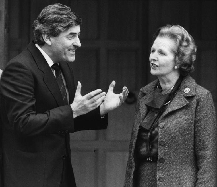 Met Margaret Thatcher in 1985. Beeld getty