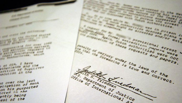 Een brief uit 2004 van het Amerikaanse ministerie, waarin staat dat de uitleveringsprocedures van Nederland omslachtig zijn. De brief maakte deel uit van een briefwisseling over de uitlevering van de Zwarte Cobra. Beeld anp