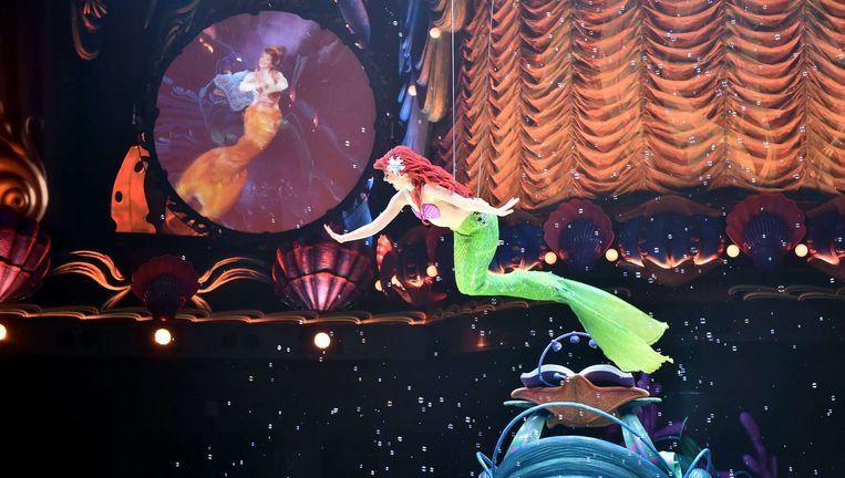 Pers preview van de nieuwe attractie 'King Triton's Concert' in Tokyo DisneySea, april 2015. Beeld AFP