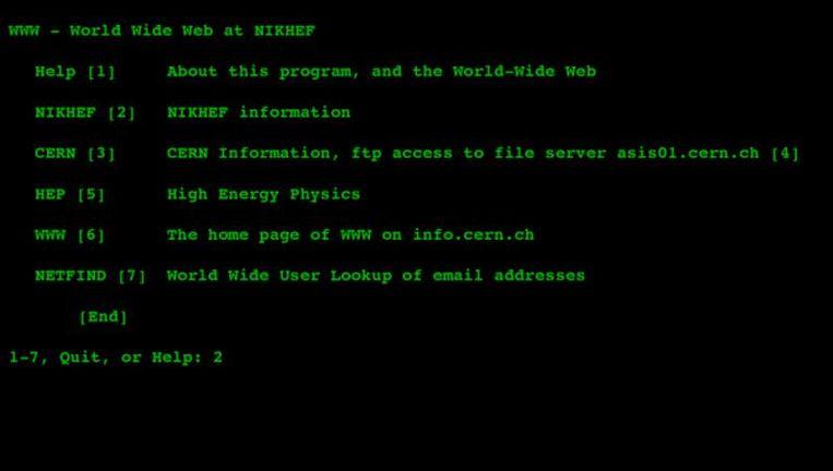 De website van het Nikhef in 1992. Beeld .