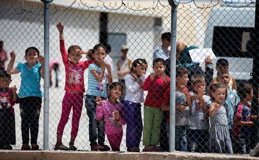 Kinderen in het Syrische vluchtelingenkamp Nizip in het Turkse Gaziantep.