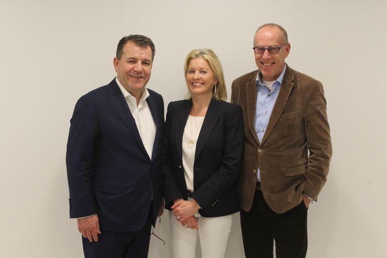 De drie zaakvoerders van Auctim, met van links naar rechts Christophe Moyersoen, Nancy Eyckmans en Paul Weyers.