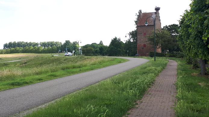 Maasdijk bij Megen met de 14-eeuwse Gevangentoren, momenteel bewoond door een ooievaarsgezin.