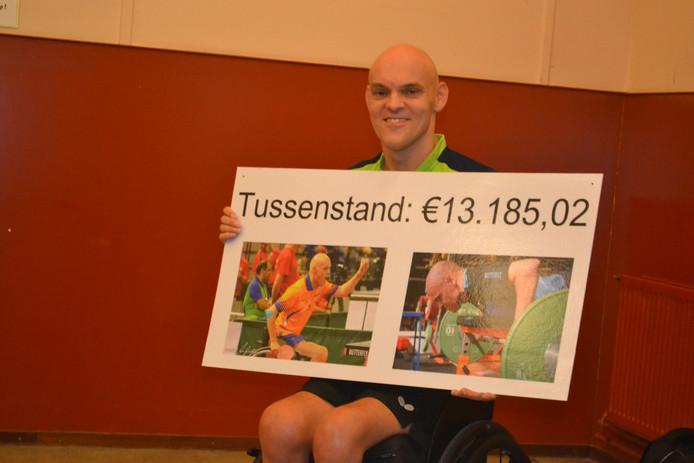 Gerald toont het bord met daarop de tussenstand van de crowdfundactie.