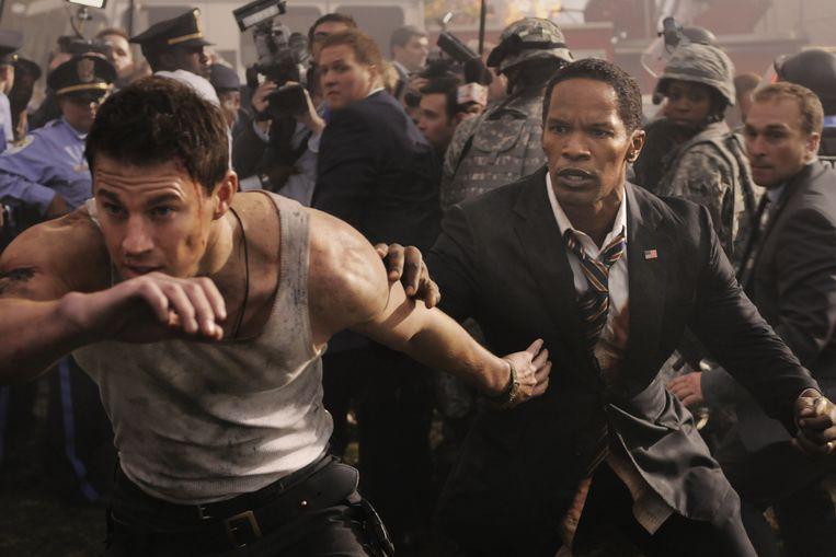 Channing Tatum en Jamie Foxx in 'White House Down' van Roland Emmerich. Beeld