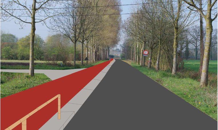 In de Bellemstraat zal het fietspad van 3 meter breed afgescheiden zijn van de bestaande rijweg met een houten omheinig.