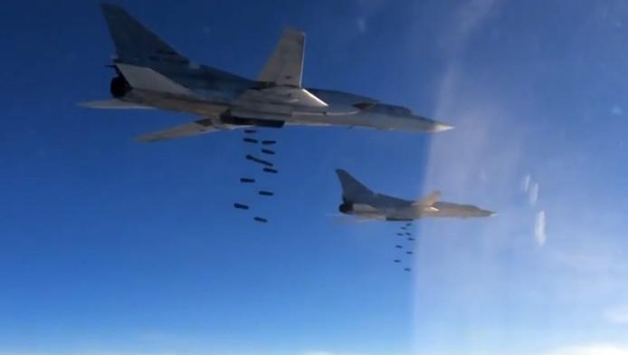 Russische bombardementen boven Syrië