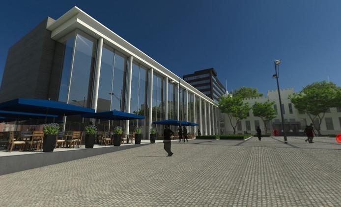 Een impressie van de zuidzijde van het nieuwe stadskantoor in Tilburg.
