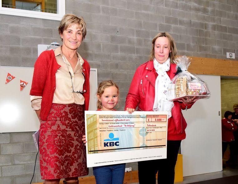Dominique Chantrain (rechts) bracht een cheque naar de school en kreeg een geschenkje van directeur Christine De Taeye. Dochter Yelka mocht het geschenk aan haar mama geven.